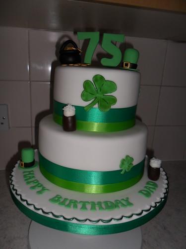 Irish 75th 2 Tier Clover Guiness Happy Birthday Cake