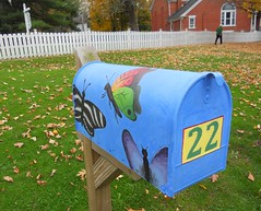 Fall Colours in Connecticut - Blue Letter Box and Butterflies (Pushapoze (MASA)) Tags: fall connecticut letterbox sharonct