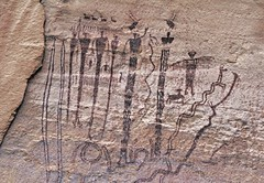 Pictographs / Buckhorn Wash Site (Ron Wolf) Tags: anthropology archaeology blm barriercanyon buckhornwash nativeamerican anthromorph anthropomorph panel parallellines pictograph zoomorph utah bcs