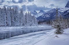 Bow River at Canmore (John Andersen (JPAndersen images)) Tags: trees winter snow canada day threesisters hdr bowriver canadianrockies 2470 canmorealberta canon6d canonef2470f28iiusm