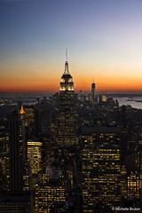 Top of the Rock - New York (Michelle Bruton) Tags: city nyc nightphotography sunset newyork night empirestatebuilding manhatten topoftherock topoftherockobservationdeck