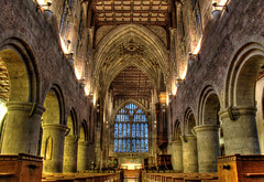 Malvern Abbey Interior (Raphooey) Tags: uk roof england west church glass abbey stone canon eos arch interior stonework country hill columns chapel arches ceiling hills stained gb column malvern worcestershire pew spa pews hdr worcester photomatix 60d gereat