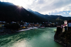 First Rays (_Amritash_) Tags: morning light sunrise river landscape footbridge holy sunrays ganges rayoflight rishikesh uttarakhand rayofhope firstrays