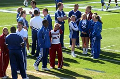 Bama and Kentucky cheerleaders mingle. (Redbird310) Tags: game college crimson football cheerleaders kentucky tide alabama sec wildcats