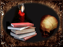 Poe's Library (ihave3kids) Tags: photomanipulation skull library digitalart books textures frame candlelight edgarallanpoe photoshopcompetition vision:outdoor=0717