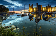Last Light at Caernarfon Castle (Ffotograffiaeth Dylan Arnold Photography) Tags: sunset urban castle heritage history wales clouds canon reflections landscape boats lights coast twilight weeds nightshot harbour dusk cymru rope quay nettles snowdonia dandelions hightide caernarfon 6d cadw angleseyarms snowdoniamountainscoast