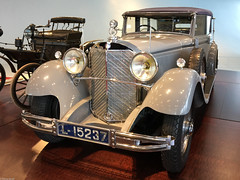 Mercedes-Benz Museum 2015 (119) (Thomas Becker) Tags: auto history classic car museum vintage germany geotagged deutschland mercedes benz automobile stuttgart convertible voiture historic collection f mercedesbenz bil vehicle oldtimer cabrio 770 daimler fahrzeug historie cabriolet iphone geschichte lkw youngtimer automobil badenwrttemberg  pkw worldcars 150208 aviationphoto grosermercedes iphone6 geo:lat=487881450 geo:lon=92339820