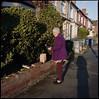 McDonald's breakfast (David Phos) Tags: old portrait food woman streets london 120 6x6 shadows purple kodak fast mcdonalds hasselblad 400 portra 800 kilburn 80mm 500cm criklewood