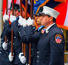 IMG_1045~Parade (Cyberlens 40D) Tags: newyorkcity blue red men canon walking fire manhattan events parade celebration engines uniforms firemen stpatricksdayparade