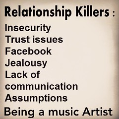 Relationship Killers (livemusiclife25) Tags: life original musician music art love rock musicians studio keys drums cool keyboard artist different bass guitar unique live country performing creative band piano blues pop tattoos southern entertainment desire musical cover unite singer passion acoustic singers vocalist americana entertainer visual lead rb guitarist recording struggle hustle singersongwriter neosoul rightbrained entertianiment