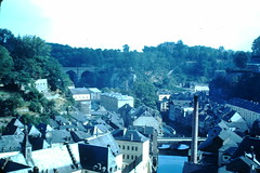 1949-  Old City Below Fortifications- Luxembourg (foundslides) Tags: europe europa european photo picture pics pix vintage retro irmalouisecarter vacation trip tour tourits tourist tourism touriste american duchyofluxembourg benelux westerneurope kodak kodachrome slide film slides foundslides flickr redborder oldphotos johnrudd irmalouiserudd analog slidecollection irmarudd