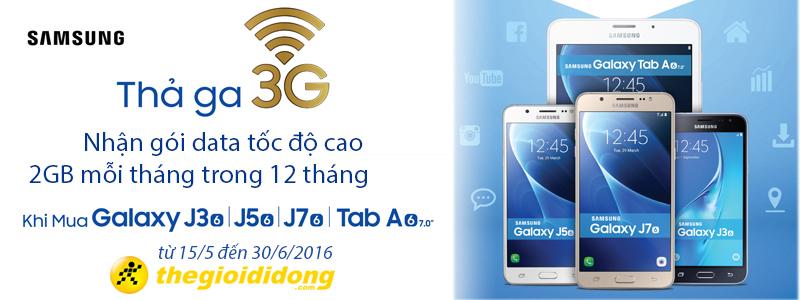Mua Galaxy J3/J5/J7 2016 và Tab A nhận ngay gói 3G tốc độ cao 2GB mỗi tháng trong 12 tháng