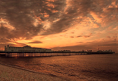 Brighton Pier - The Other Side (Pete 5D......) Tags: ocean park uk sea england sky beach clouds evening amusement pier brighton ride legs dusk wave structure pebble rides funfair