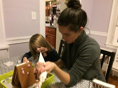 decorating a gingerbread house (studio-s) Tags: christmas friends massachusetts holidayparty christmasparty icing gingerbreadhouse watertown