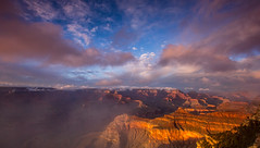 Foggy Sunset at the south rim.... (Kevin Povenz) Tags: 2015 may kevinpovenz arizona sunset grandcanyon southrim southwest canyon sky fog clouds foggy sunlit canon60d