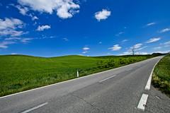 TUSCANY (gazzettinopadano) Tags: road blue sky verde green clouds strada italia nuvole blu hills cielo tuscany crete siena toscana collina senesi