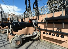 Gun deck (gillybooze) Tags: sky clouds ship navy nelson deck cannon ropes rigging cannonballs hmsvictory lordnelson navalhistory allrightsreserved blocktackle