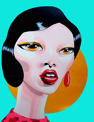 InTheRaw (Zelda Bomba) Tags: street urban art girl fashion yellow painting asian pop lips earing