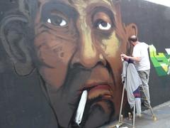 street art rue ordener (Jeanne Menj) Tags: streetart man black cigarette smoking homme rueordener