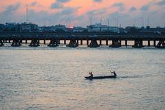 End of fishing (MNP[FR]) Tags: africa old bridge sunset lagune water river fisherman eau fishermen olympus pont pirogue vieux fleuve afrique cotonou pcheurs bnin tg850