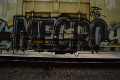MECRO (TheGraffitiHunters) Tags: street pink white black art car train graffiti colorful paint tracks spray boxcar refrigerator freight reefer mecro benched benching