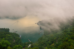 Foggy Sun Moon Lake (Vincent_Ting) Tags: morning sunset sky lake water clouds sunrise dawn pier taiwan galaxy   crepuscularrays  sunmoonlake milkyway                  vincentting