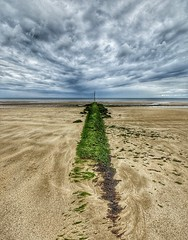 Green road to nowhere (alcowp) Tags: summer seascape france beach clouds sand normandie normandy groyne plague