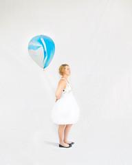 ponder (bubblysooner) Tags: ponder white girl girlinwhite whitedress balloon blueballoon thinking think space art