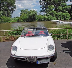 Racer zu Land und zu Wasser! - Racer on land and water (Jorbasa) Tags: auto white water car river germany deutschland boot boat spider classiccar wasser hessen main voiture alfa oldtimer oldcar fluss geotag racer seligenstadt wetterau weis gischt jorbasa seligenstadtammain rundheck alfarundheckspider