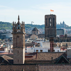 The Gothic Quarter (James*J) Tags: barcelona city roof building bird tower art rooftop church saint museum architecture tile square spain europe cross cathedral bell flag gothic pillar catalonia belltower holy national quarter montjuc eulalia