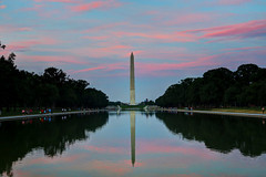 Painting the Sky with a Monumental Brush (AJ Brustein) Tags: pink sunset summer moon reflection monument pool clouds canon mall aj reflecting dc washington strawberry memorial mark painted iii steps solstice capitol national lincoln 5d washingtonmonument hdr brustein 5dm3