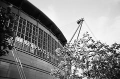 Etihad Stadium, Manchester (iampaulrus) Tags: paulfargherphotography paulfargher filmisnotdead film 35mm etihad etihadstadium manchester manchestercity flowers architecture stadium blackandwhite blackwhite mono ilford xp2 singleusecamera photoexpresshull