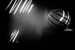 """Reflections of..."" (milmonfharrison) Tags: reflection shadows blinds existinglight sphere lowkey dark indoor stilllife"