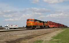 Outpacing the Trucks (JayLev) Tags: railroad train truck trucker freight bnsf route30 intermodal