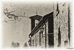 Two lamps and one cross (Rinogmb) Tags: blackandwhite bw italy castle texture italia gargonza tuscany toscana castello soe biancoenero mygearandme ringexcellence