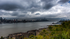 WTC1 Scrapes Low Clouds (Bee Nouveau) Tags: new york city nyc ny skyline clouds river newjersey unitedstates cloudy low hudson hdr weehawken
