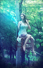 A New Found Power (Ian_Arneson) Tags: blue green beautiful beauty grass fairytale fire photography model glamour nikon glow power gorgeous grace fineartphotography nikond90
