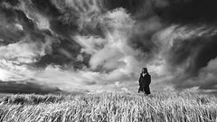 144/365 Winter Winds (Yugus) Tags: portrait sky people blackandwhite bw selfportrait grass clouds standing scarf person alone jacket 365 pictureaday project365 a850 konicaminolta1735mmf284d