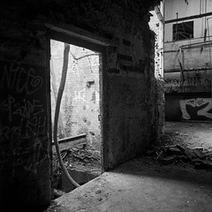 Exit through the gift shop (John Compiani) Tags: blackandwhite bw abandoned foundry square decay bronica hp5 derelict ilford sqa iso1600 ddx