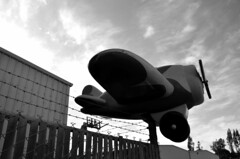 Short Landing (Texaselephant) Tags: airplane barbedwire
