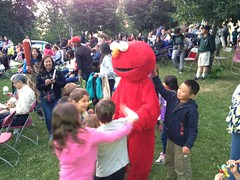 Elmo at Movie Night (Unionville BIA) Tags: street kids movie real fun costume team community estate outdoor main volunteers elmo band millennium stephen movies bandstand tar unionville