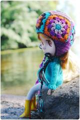 just sitting here a bit.. (megipupu) Tags: beach hat handmade crochet helmet blythe granny pyynikki bl kozy kape megipupu