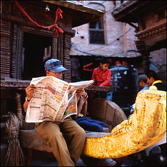 (*johnnyfavorite) Tags: street travel nepal 120 6x6 film analog newspaper fuji slide unesco hasselblad journey epson medium format provia bhaktapur 100f 500cm v700 johnnyfavorite