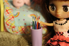 Handmade these colored pencils- She doesn't know which color to choose!