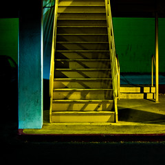 stairy, stairy night (MyArtistSoul) Tags: blue red urban green yellow night stairs canon square concrete utah aqua shadows steel parking steps structure minimal handheld asphalt ogden s100 5511