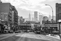 Chrysler Building from Queens (zoolien) Tags: bw usa newyork canon queens astoria chryslerbuilding northernblvd eos7d