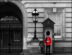 The Guard (Maw*Maw) Tags: camera red colour photoshop soldier gun mask guard palace changing buckingham attention compact coldstream buzby grenadier trooping
