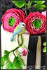 Ranunculus and Bird Cake (close-up) (Fantasticakes (Cécile)) Tags: bird ranunculus lovebird gumpaste sugarflowers sugarmodelling doublebarrelcake