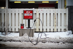 (A Great Capture) Tags: winter red white snow toronto ontario cold fence air hose gasstation pump westend on lhiver ald ash2276 ashleysphotoscom ashleylduffus