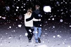 Snow Walk (Willem_Butler) Tags: portrait snow love senior loving portraits dark walking walk flash highschool snowing playful inlove snowed